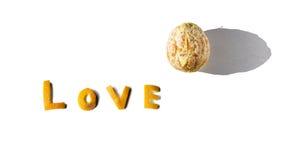 Letras de amor de una naranja Fotos de archivo libres de regalías
