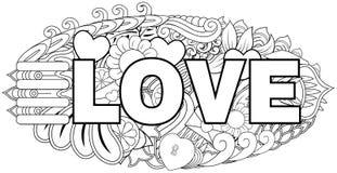 Letras de amor dibujadas mano del garabato con el fondo del elemento Imágenes de archivo libres de regalías