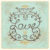 Letras de amor florales del whith del marco del vintage Imagen de archivo libre de regalías