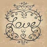 Letras de amor florales del whith del marco del vintage Foto de archivo libre de regalías