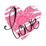 Letras de amor y corazón rosado Imagen de archivo libre de regalías