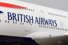 Letras de British Airways em aviões Imagem de Stock
