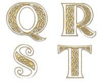 Letras de capital douradas 5 Foto de Stock