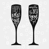 Letras de Champagne New Years Imagen de archivo libre de regalías