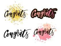 Letras de Congrats La caligrafía moderna manuscrita, cepillo pintó letras Texto inspirado, ejemplo del vector Plantilla para libre illustration