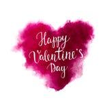 Letras de día de las tarjetas del día de San Valentín en un corazón de la acuarela Imagenes de archivo