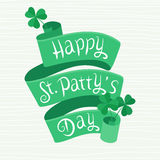 Letras de día del St Patty feliz en una cinta Ilustración del Vector