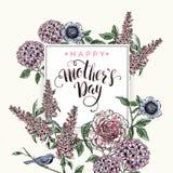 Letras de día felices de madres tarjeta de felicitación del día de madres Foto de archivo libre de regalías