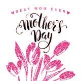 Letras de día felices de madres tarjeta de felicitación del día de madres Imágenes de archivo libres de regalías