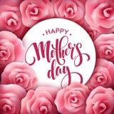 Letras de día felices de madres Tarjeta de felicitación del día de madres con Rose Flowers rosada floreciente Ilustración del vec stock de ilustración