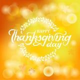 Letras de día felices dibujadas mano de la acción de gracias Fotos de archivo