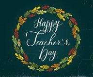 Letras de día felices dibujadas mano de Teacher's Fotografía de archivo libre de regalías