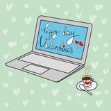 Letras de día felices a pulso del ` s de la tarjeta del día de San Valentín de la tarjeta de felicitación del vector del garabato Foto de archivo libre de regalías