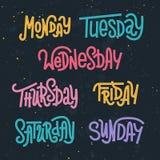 Letras de encargo coloridas de los días de la semana libre illustration