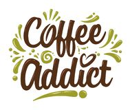 Letras de encargo del adicto al café stock de ilustración