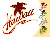 Letras de Hawaii con una palmera, una ola oceánica estilizada libre illustration