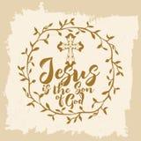 Letras de la biblia Christian Art Jesús es el hijo de dios stock de ilustración