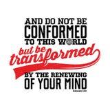 Letras de la biblia Ejemplo cristiano No se ajuste a este mundo, sino sea transformado por la renovación de su mente ilustración del vector