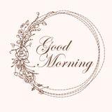 Letras de la buena mañana Caligrafía moderna con el marco rizado dibujado mano en estilo del vintage aislado Imagenes de archivo