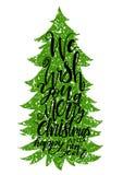 Letras de la caligrafía del ejemplo del vector del árbol de navidad Fotos de archivo libres de regalías