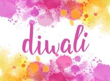 Letras de la caligrafía de Diwali en fondo del chapoteo de la acuarela Stock de ilustración