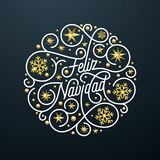 Letras de la caligrafía de Feliz Navidad Spanish Merry Christmas y decoración de oro del modelo de estrella del copo de nieve en  ilustración del vector