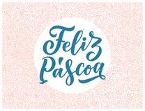 Letras de la caligrafía para el diseño del aviador - pascua feliz en lengua hispánica Ilustración del vector Bandera de la planti foto de archivo