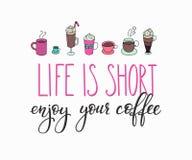 Letras de la cita en tarjeta de la forma de la taza de café ilustración del vector