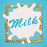 Letras de la etiqueta de la leche Leche Foto de archivo