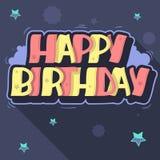 Letras de la etiqueta del estilo de la pintada de la tarjeta de felicitación del feliz cumpleaños Foto de archivo