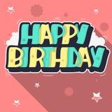 Letras de la etiqueta del estilo de la pintada de la tarjeta de felicitación del feliz cumpleaños Cus Imágenes de archivo libres de regalías