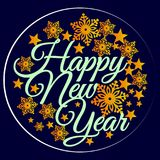 Letras de la Feliz Año Nuevo, composición de la tipografía Tarjeta de felicitación Fotografía de archivo libre de regalías