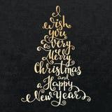 Letras de la Feliz Año Nuevo de la Feliz Navidad Foto de archivo