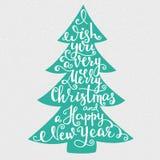 Letras de la Feliz Año Nuevo de la Feliz Navidad Fotos de archivo