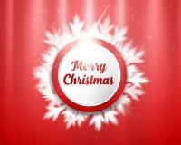 Letras de la Feliz Navidad con los círculos y las ramas de árbol rojos y blancos en fondo de la iluminación Ilustración del vecto Foto de archivo libre de regalías