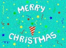 Letras de la Feliz Navidad con tostador de palomitas de maíz y confeti del partido libre illustration