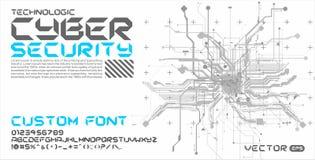 Letras de la fuente con Cyberpunk de alta tecnología del extracto del fondo de los circuitos Fotos de archivo