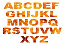 Letras de la llama del alfabeto aisladas en blanco Imágenes de archivo libres de regalías