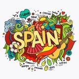 Letras de la mano de España y elementos de los garabatos