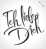 Letras de la mano de ICH LIEBE DICH () Imágenes de archivo libres de regalías