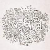 Letras de la mano de la boda y bosquejo de los elementos de los garabatos Fotos de archivo