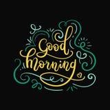 Letras de la mano de la buena mañana Tarjeta de felicitación moderna de la caligrafía Imagen de archivo
