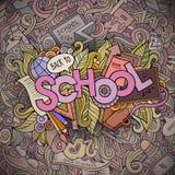 Letras de la mano de la historieta de la escuela y elementos de los garabatos Foto de archivo libre de regalías