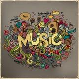 Letras de la mano de la música y elementos de los garabatos Imagen de archivo libre de regalías