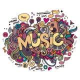 Letras de la mano de la música y elementos de los garabatos Imagenes de archivo