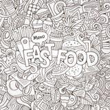Letras de la mano de los alimentos de preparación rápida y elementos de los garabatos Imagen de archivo libre de regalías