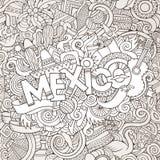 Letras de la mano de México y elementos de los garabatos Fotos de archivo