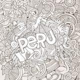 Letras de la mano de Perú y elementos de los garabatos Foto de archivo libre de regalías