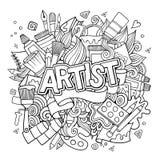 Letras de la mano del artista y emblema de los elementos de los garabatos ilustración del vector