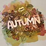 Letras de la mano del otoño y elementos de los garabatos Fotografía de archivo